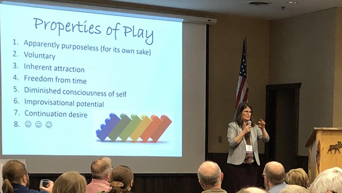 Coach and author, Kathy Oppegard, presents the Properties of Play at the 2018 Land Trust Conference in Onalaska, WI.